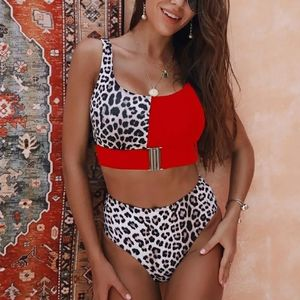 Other - New High Waisted Red and Leopard Print Bikini Set